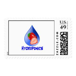 Strawberry, Blue Text Blue Drop Hydroponics Stamp