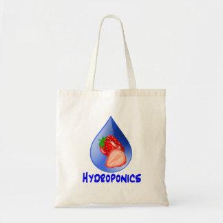 Strawberry, Blue Text Blue Drop Hydroponics Tote Bag