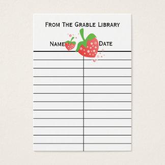Strawberry Book Return Cards