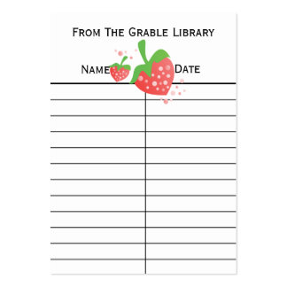 Strawberry Book Return Cards Large Business Cards (Pack Of 100)