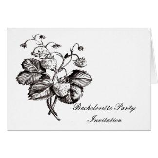 Strawberry  botanical Bachelorete party invitation Greeting Cards