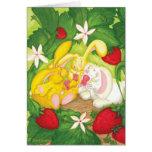 Strawberry Bunny Tea / Blank Greeting Card