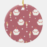 Strawberry Cake and Umbrella Fruit Drinks Pattern Christmas Tree Ornaments