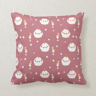 Strawberry Cake and Umbrella Fruit Drinks Pattern Throw Pillows