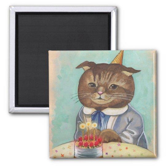 Strawberry Cake Birthday Kitty Magnet