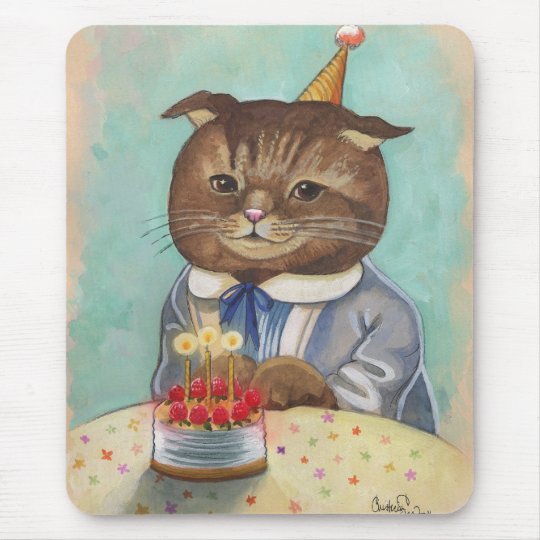 Strawberry Cake Birthday Kitty Mouse Pad