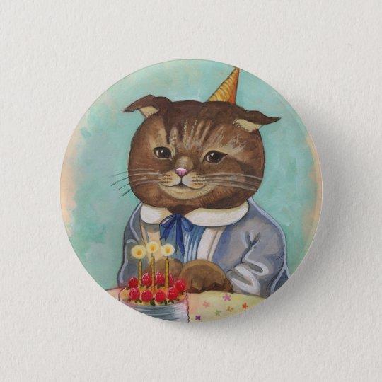 Strawberry Cake Birthday Kitty Pinback Button