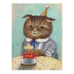 Strawberry Cake Birthday Kitty Postcard