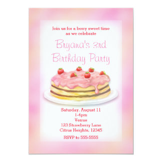 Strawberry Cake Birthday Party Invitations