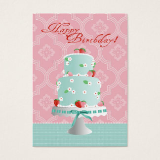 Strawberry Cake Gift Tag Large Business Card