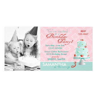 Strawberry Cake Invitation Photo Card