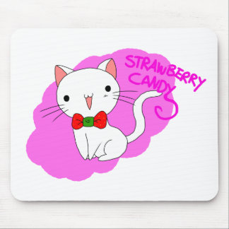 Strawberry Candy Cat Mouse Pad
