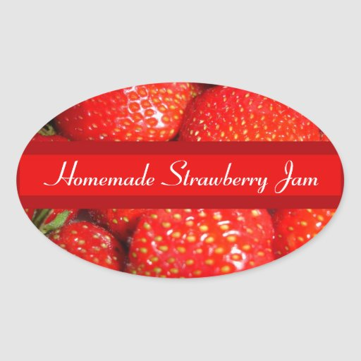 Strawberry Canning Label Oval Sticker