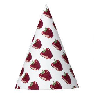 strawberry cartoon style illustration party hat