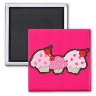 Strawberry & Cherry Pink Cupcakes 2 Inch Square Magnet