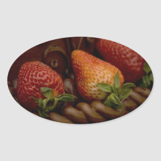 Strawberry Chocolate Cake Oval Sticker