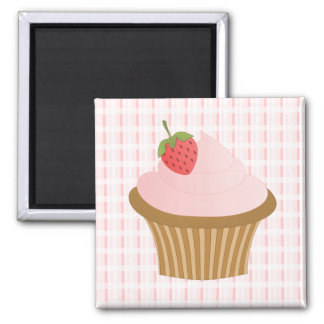 Strawberry Chocolate Cupcake 2 Inch Square Magnet