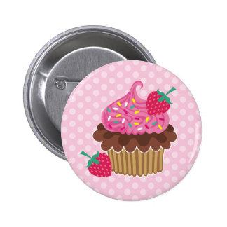 Strawberry Chocolate Cupcake Pinback Buttons