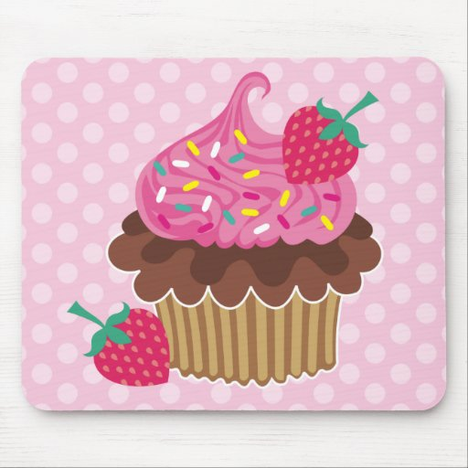 Strawberry & Chocolate Cupcake Mouse Pad