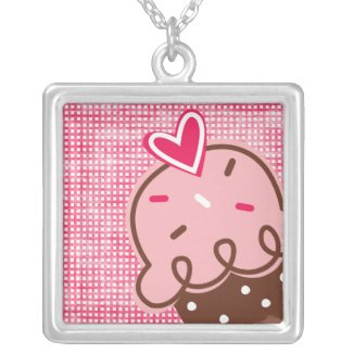 Strawberry & Chocolate Cupcake on Pink Necklace necklace