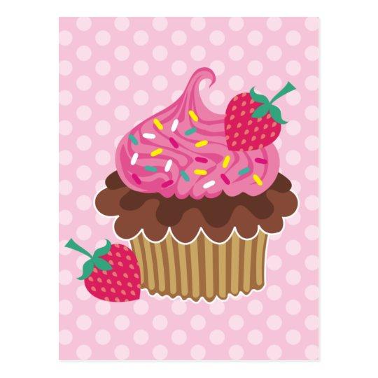 Strawberry & Chocolate Cupcake Postcard