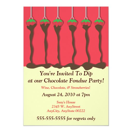 "Strawberry & Chocolate Fondue Party Invitation 5"" X 7"" Invitation Card"