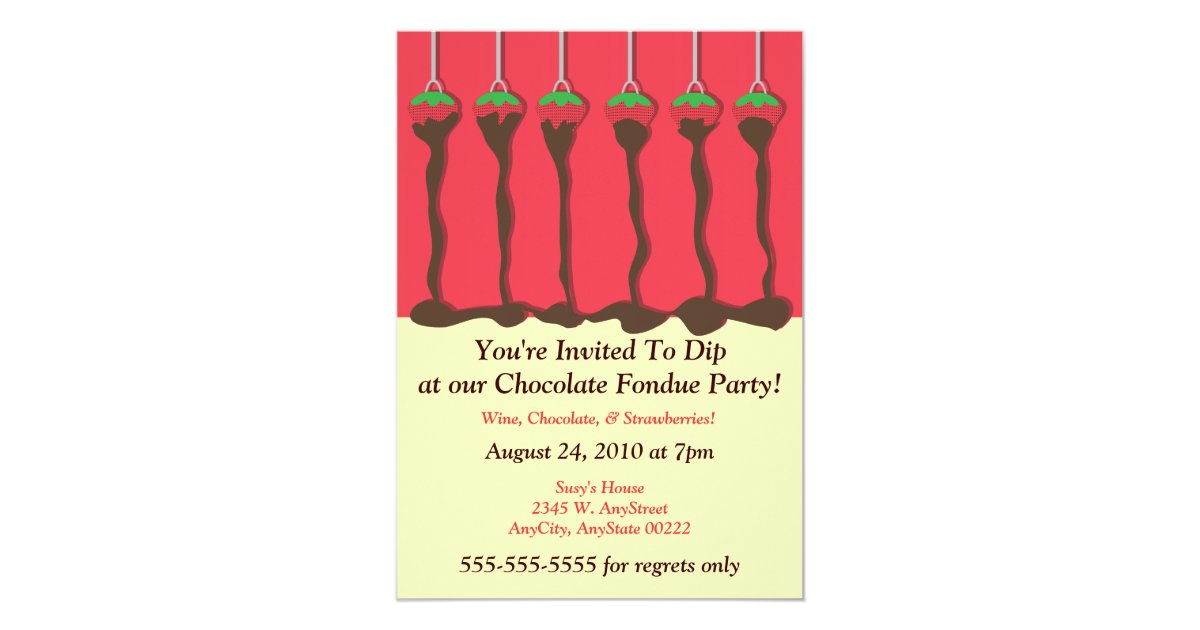 Strawberry & Chocolate Fondue Party Invitation | Zazzle.com