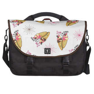Strawberry Chocolate Ice Cream Cones Sunny Pattern Bags For Laptop