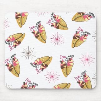 Strawberry Chocolate Ice Cream Cones Sunny Pattern Mouse Pad