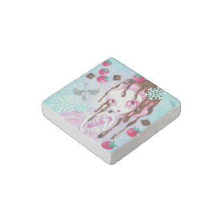 Strawberry Chocolate Ice Cream Faerie Stone Magnet