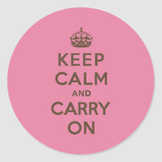 Strawberry Chocolate Keep Calm and Carry On Classic Round Sticker