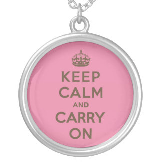 Strawberry Chocolate Keep Calm and Carry On Round Pendant Necklace
