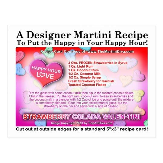 Strawberry Colada Valentine's Day Martini Recipe Postcard