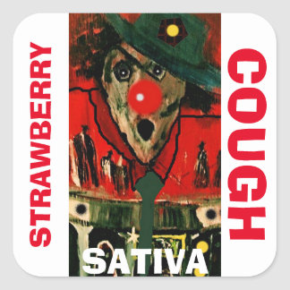 STRAWBERRY COUGH SATIVA SQUARE STICKER