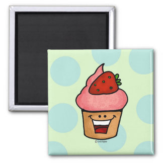 strawberry cupcake 2 inch square magnet