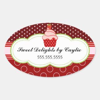 Strawberry Cupcake Bakery Cake Box Seals