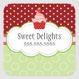 Strawberry Cupcake Bakery Cake Box Seals