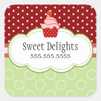 Strawberry Cupcake Bakery Cake Box Seals Square Sticker