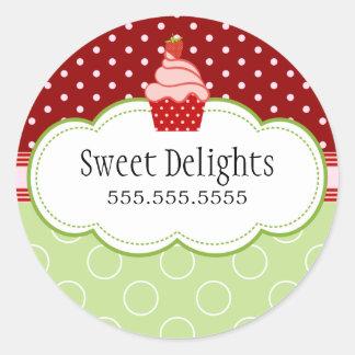 Strawberry Cupcake Bakery Cake Box Seals Classic Round Sticker