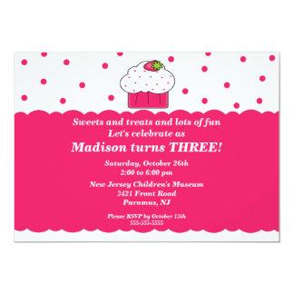 Strawberry Cupcake Birthday Invitation