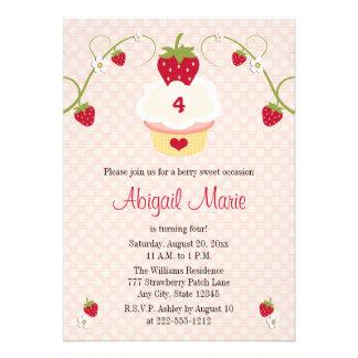 Strawberry Cupcake Birthday Invitation Any Age