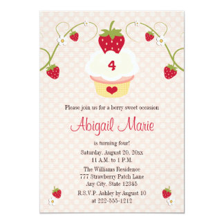 "Strawberry Cupcake Birthday Invitation Any Age 5"" X 7"" Invitation Card"