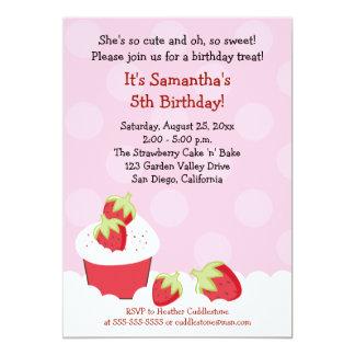 Strawberry Cupcake Birthday Party 5x7 Invitation