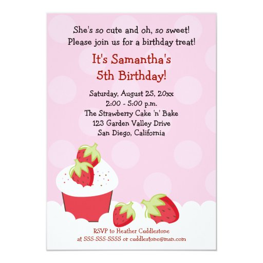Strawberry Cupcake Birthday Party 5x7 Invitation