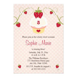 Strawberry Cupcake Birthday Photo Invitation