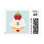 Strawberry Cupcake Birthday Postage Stamps Blue