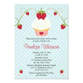 "Strawberry Cupcake Bridal Shower Invitation Blue 5"" X 7"" Invitation Card"