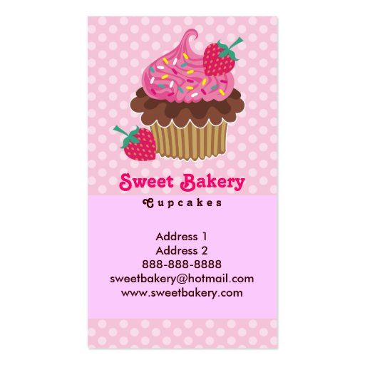 Strawberry Cupcake Business Cards (back side)