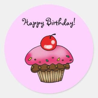 Strawberry Cupcake for a Birthday Classic Round Sticker