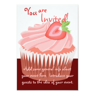 Strawberry Cupcake Invitation